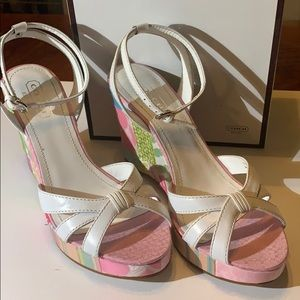 Coach floral and white wedges